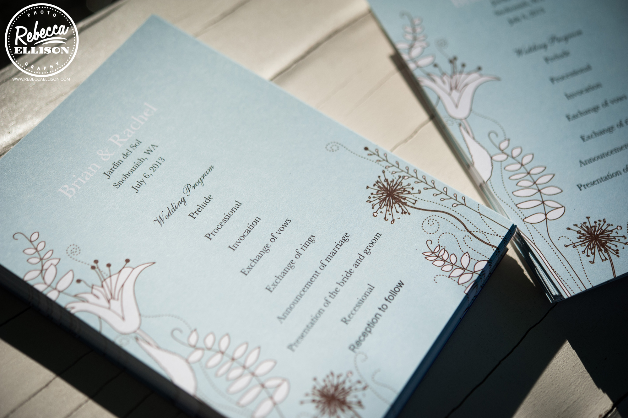 Peach and Blue DIY wedding details photographed by Rebecca Ellison Photography