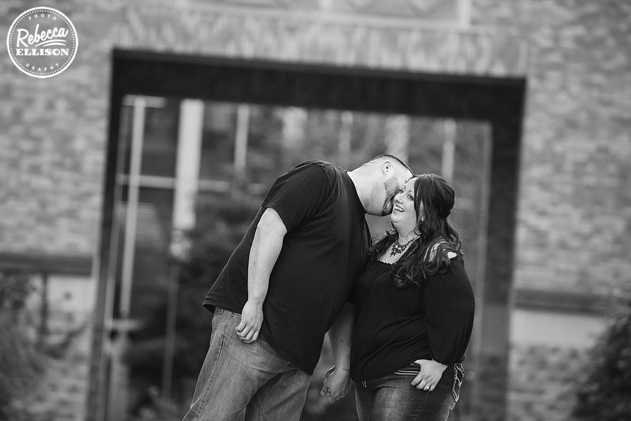bw engagement portrait at UW