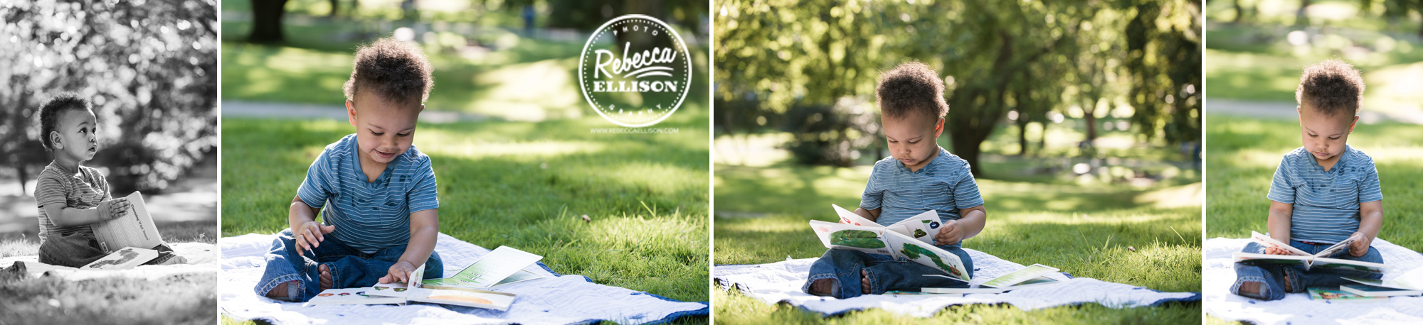 One year old boy looks at a book during an outdoor portrait session by Tacoma Child Photographer Rebecca Ellison