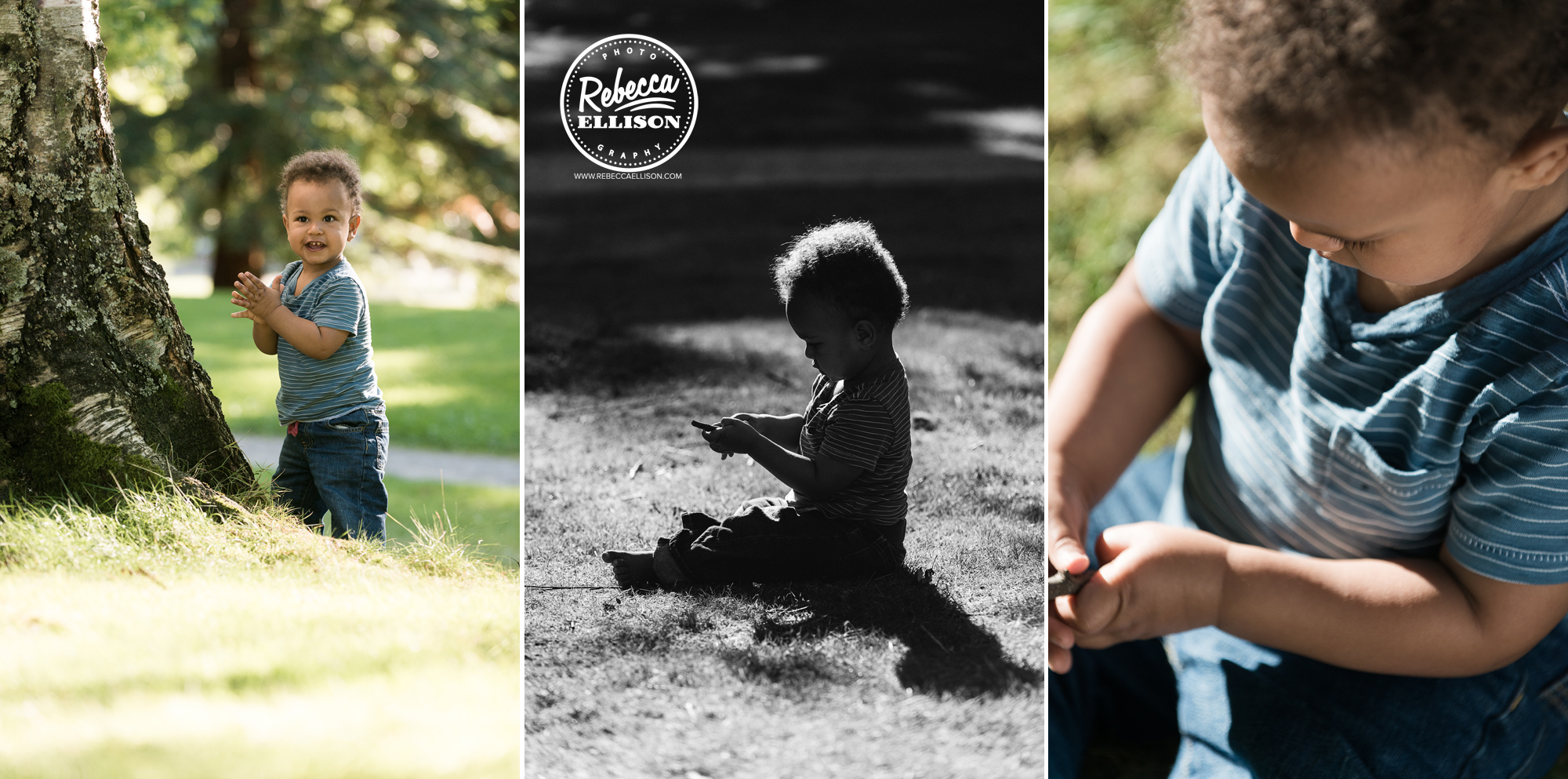 One year old boy plays outside during an outdoor portrait session by Tacoma child photographer Rebecca Ellison