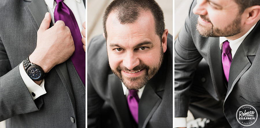 Groom details featuring charcoal grey suit and purple tie by Fomals & Frills photography by Rebecca Ellison