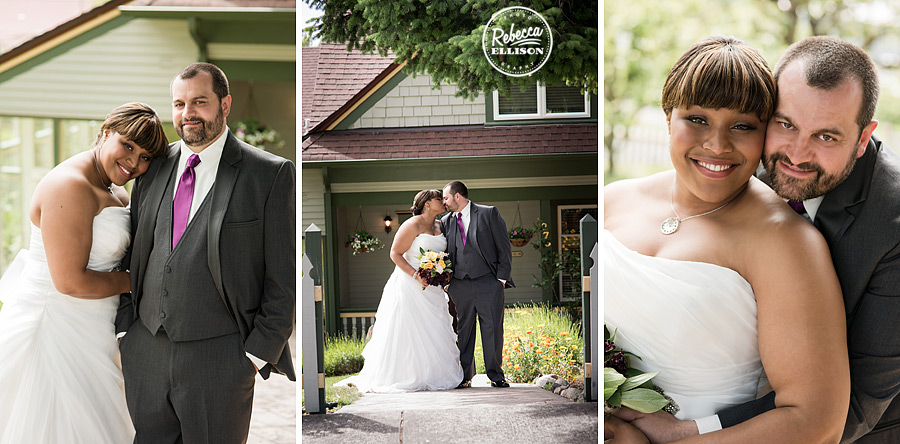 Bride and groom in front of the Tucker House Inn for their intimate hotel wedding in Friday Harbor photographed by Rebecca Ellison Photography