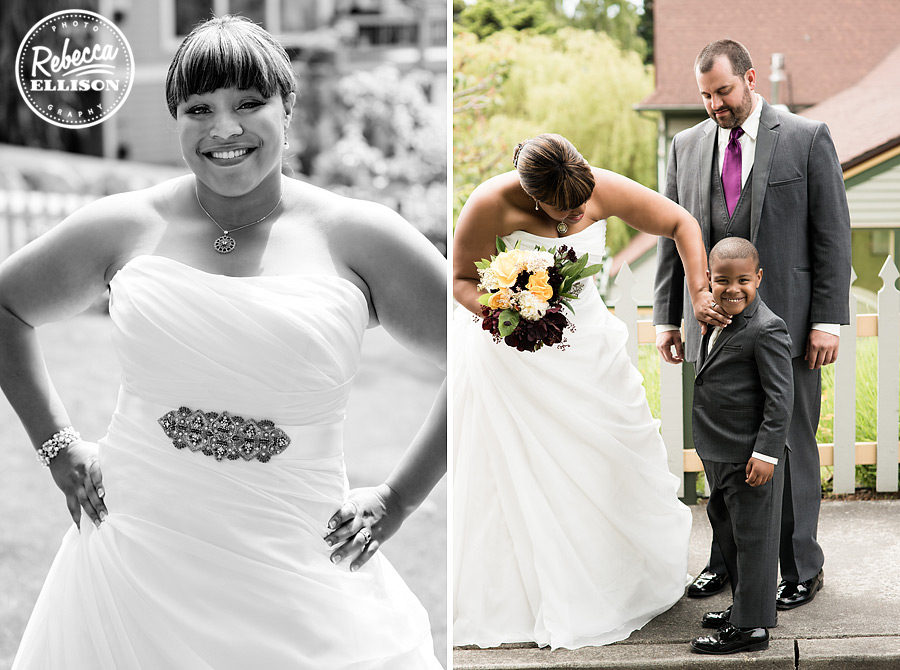 Bride and groom greet their ring bearer wedding dress by Lainee Meg Bridal men's formalwear by Formals & Frills photographed by Seattle wedding photographer Rebecca Ellison