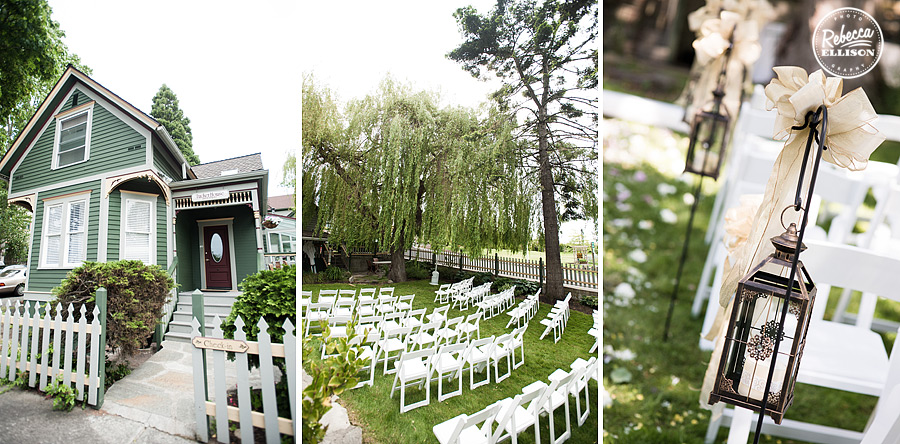Outdoor Hotel wedding ceremony at Tucker House Inn in Friday Harbor photographed by Seattle wedding photographer Rebecca Ellison