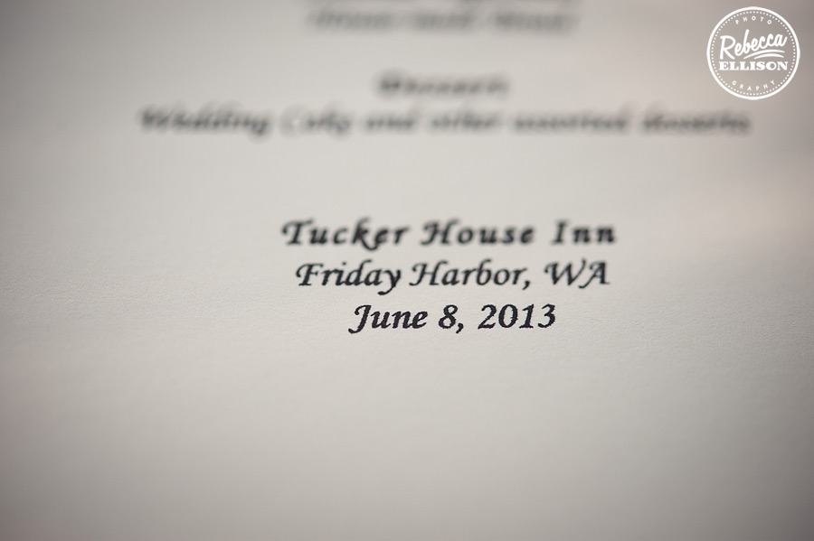 Wedding invitations for a Tucker House Inn wedding at Friday Harbor, invitations by Wedding Paper Divas