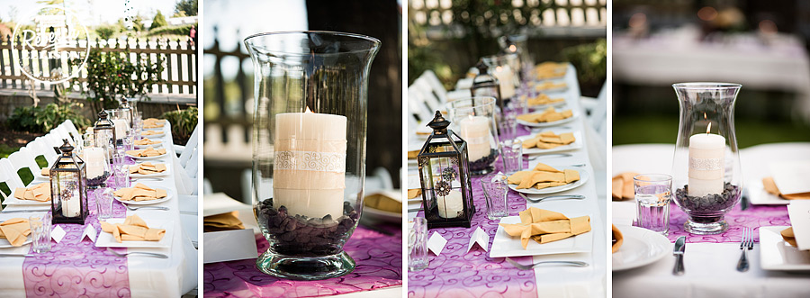 Purple and Yellow wedding decor featurinh candle lanterns at an outdoor wedding reception at a Tucker House Inn Friday Harbor wedding photographed by Seattle wedding photographer Rebecca Ellison