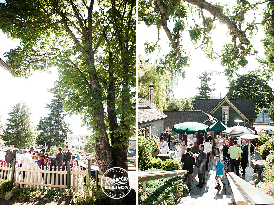 Outdoor wedding reception at the Tucker House Inn at friday Harbor in the San Juan Islands photography by Rebecca Ellison