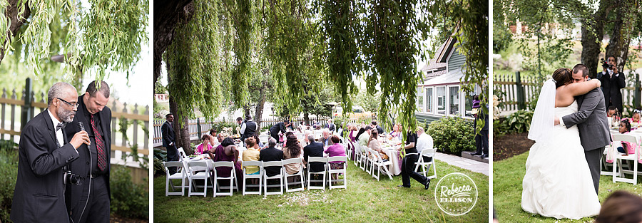 Outdoor wedding reception at Tucker House Inn in Friday harbor photographed by Rebecca Ellison Photography