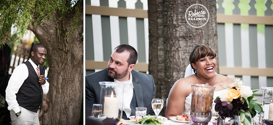 Bride and Groom enjoy dinner at their outdoor wedding reception in Friday harbor at Tucker House inn featuring purple and yellow decor phtoographed by Rebecca Ellison Photography
