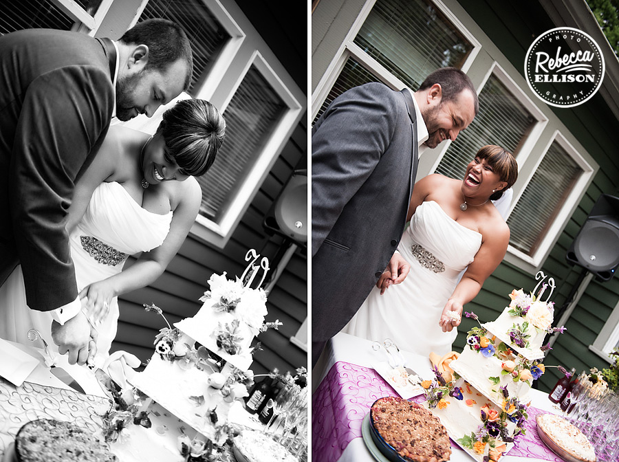Bride and groom get ready to cut the cake featuring purple and yellow flowers photographed by Seattle wedding photographer Rebecca Ellison