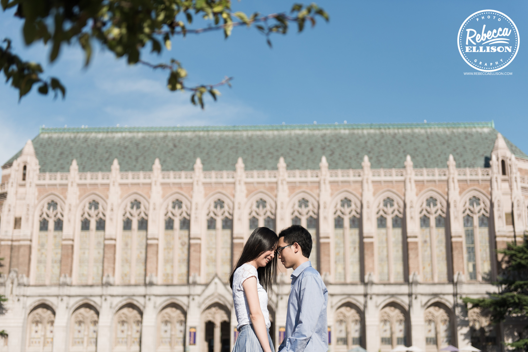 Outdoor engagement portraits in front of University of Washington's Kane Hall photographed by Seattle Engagement Photographer Rebecca Ellison