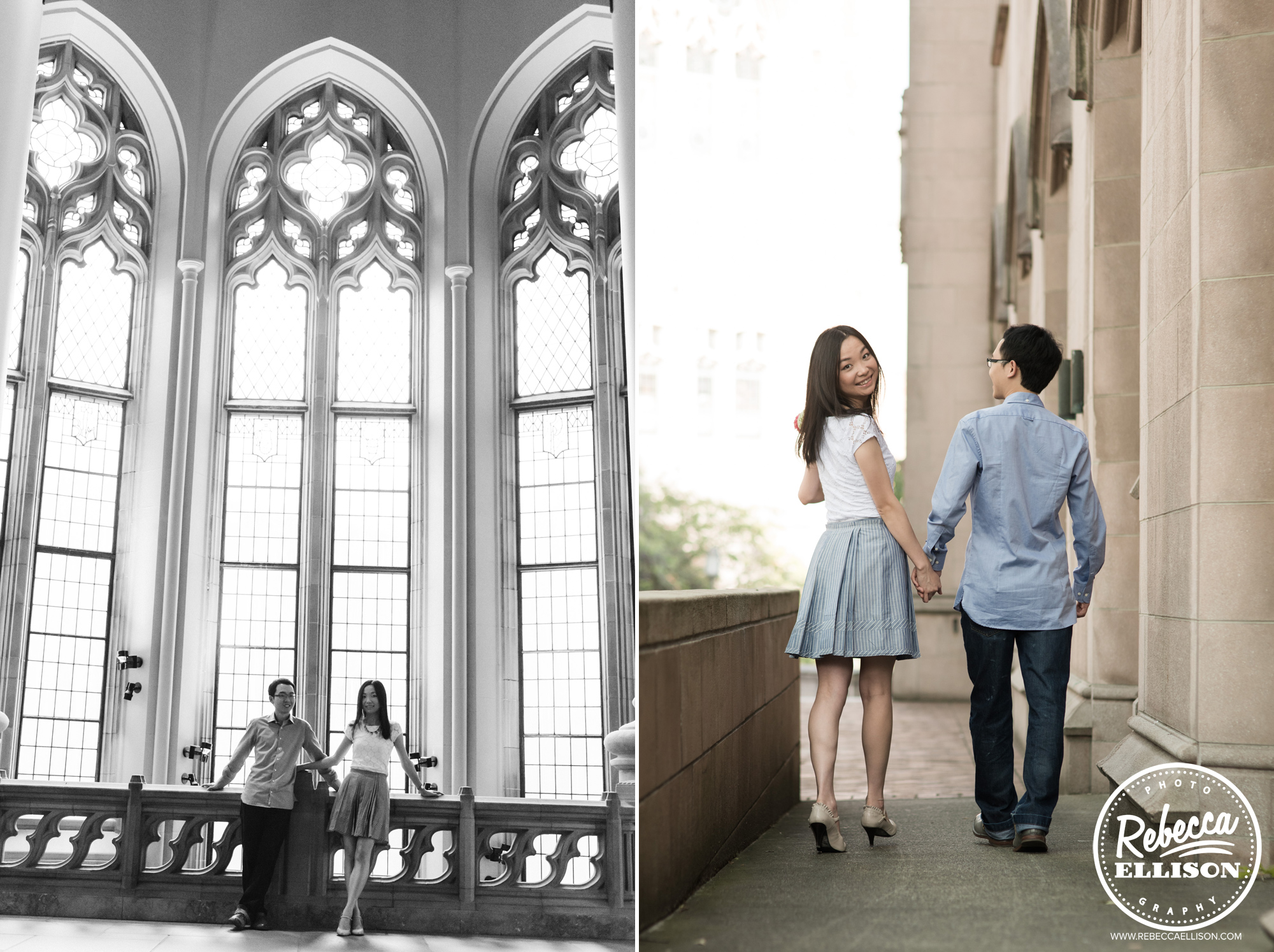 Engagement portraits at University of Washington's Suzallo Library photographed by Rebecca Ellison Photography