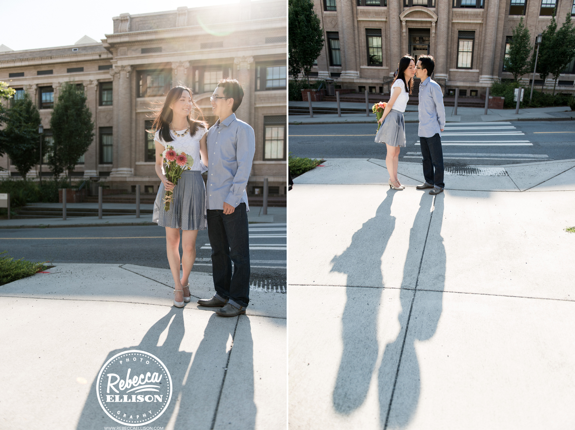 Outdoor engagement photos at University of Washington in front of Suzallo Library photographed by Seattle engagement photographer Rebecca Ellison