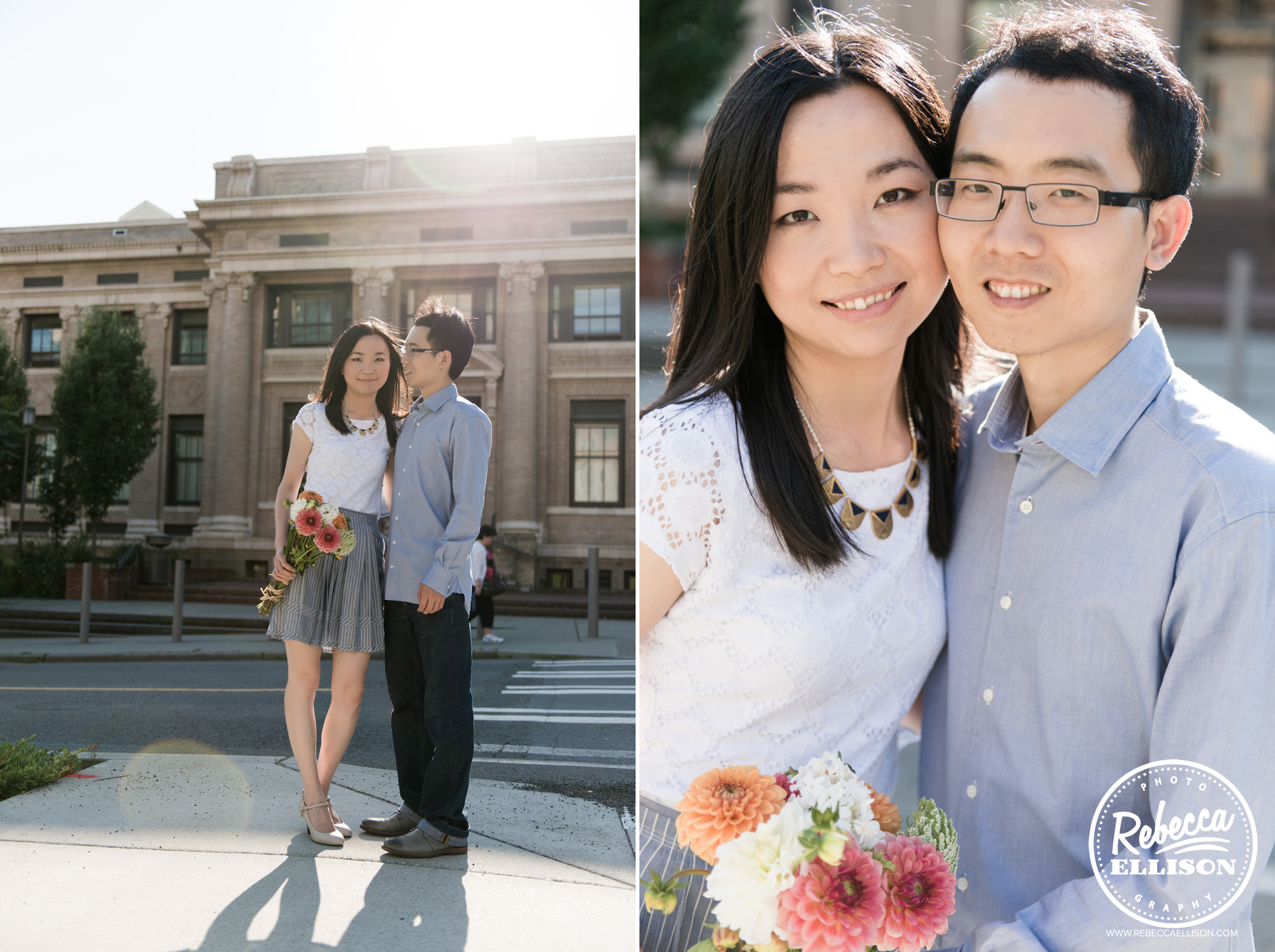 Engagement portraits in front of Suzallo Library photographed by University of Washington Engagement Photographer Rebecca Ellison