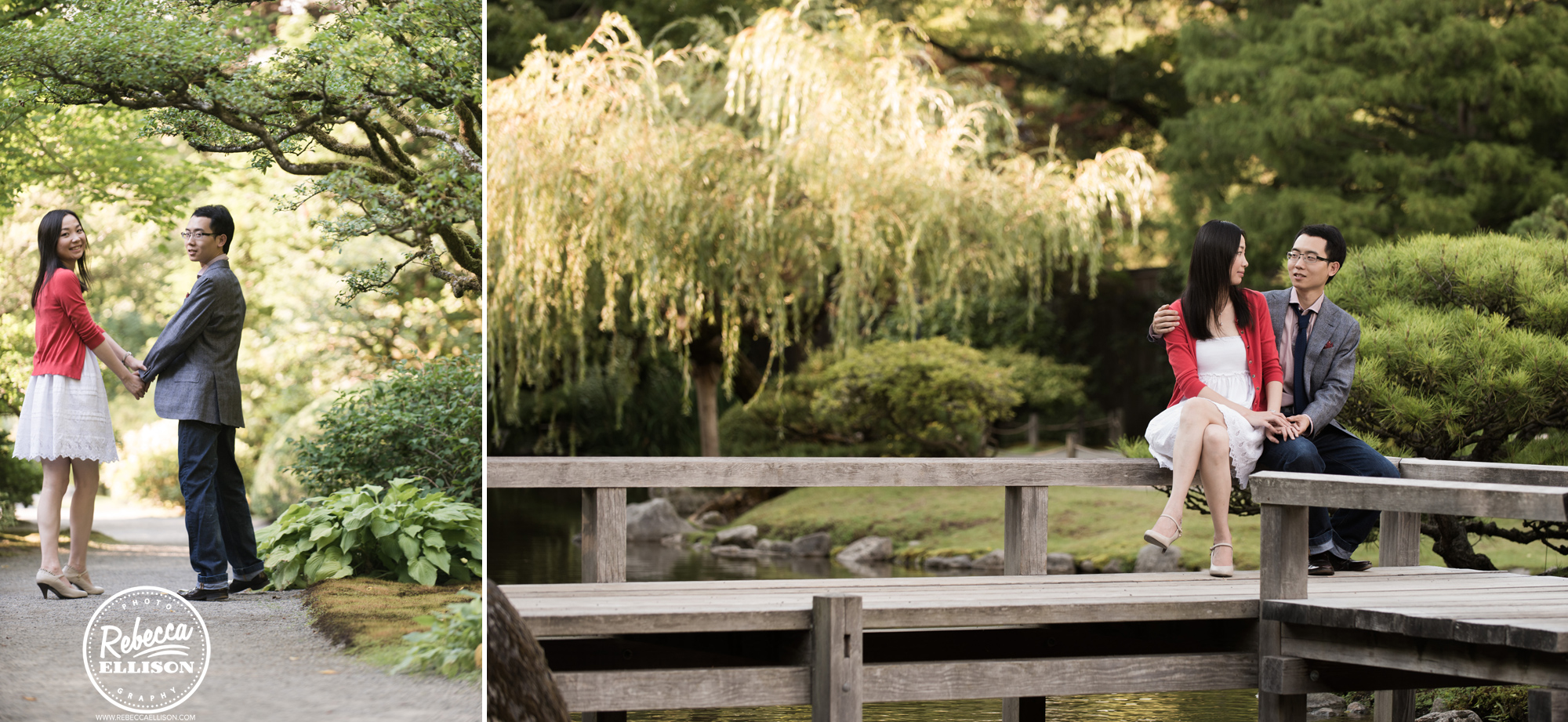 University of Washington Japanese Garden engagement portraits a couple sits on a wooden bench photographed by Seattle engagement photographer Rebecca Ellison