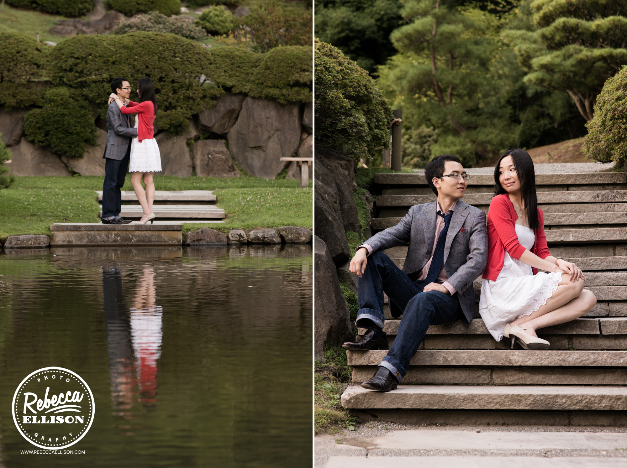 Outdoor engagement photos at the Japanese Gardens at University of Washington, a couple stands in front of a pond and sits on wooden stairs, photographed by Seattle engagement photographer Rebecca Ellison