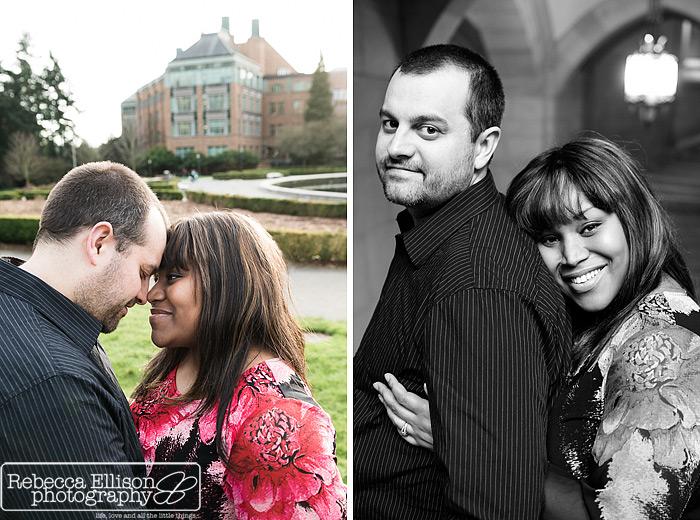 University of Washington Engagement portraits by Seattle engagement photographer Rebecca Ellison