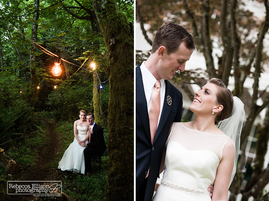 Vashon Island backyard wedding featuring a forest settin and hanging lights photographed by Vashon Island wedding photographer Rebecca Ellison