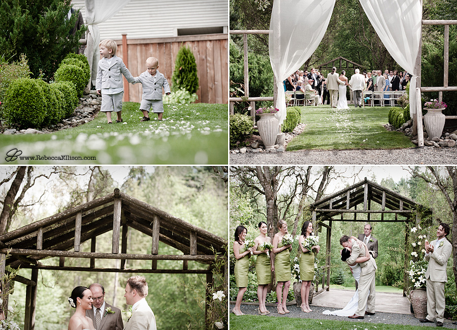 Wedding ceremony at an elegant garden wedding at Jardin Del Sol featuring a fresh herb theme photographed by Rebecca Ellison Photography