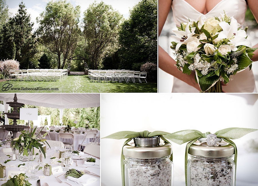 Elegant garden wedding at Jardin Del Sol featuring fresh herb decor and homemade herb bath salts as favors, wedding rings tied onto wedding favors, all white bridal bouquet photographed by Snohomish wedding photographer Rebecca Ellison