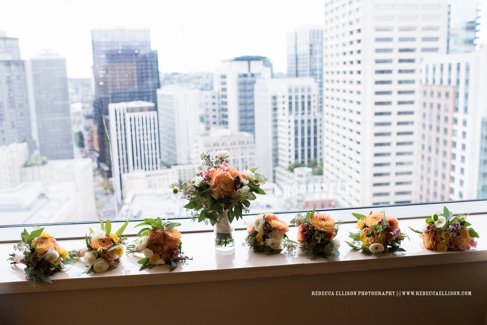 Classic wedding at the Foundry by Herban Feast. Greens, corals and lots of local Seattle details.