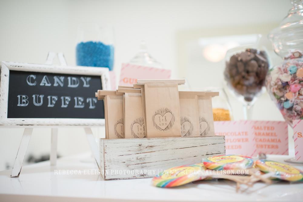 wedding candy buffet in lieu of favors