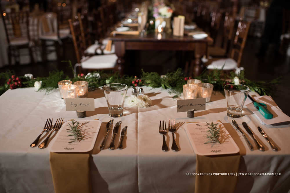 Wedding reception table at the Foundry