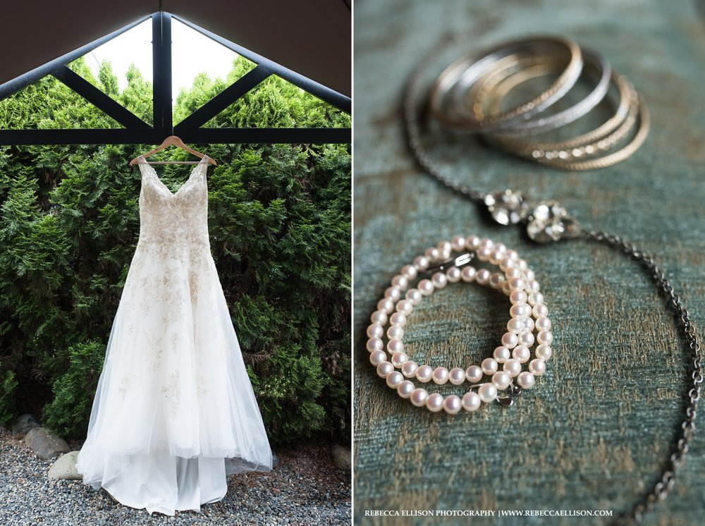 Bride's embroidered dress and pearl bracelet details