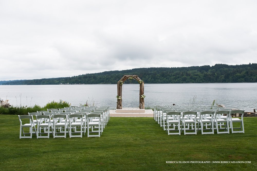 outdoor wedding reception on water