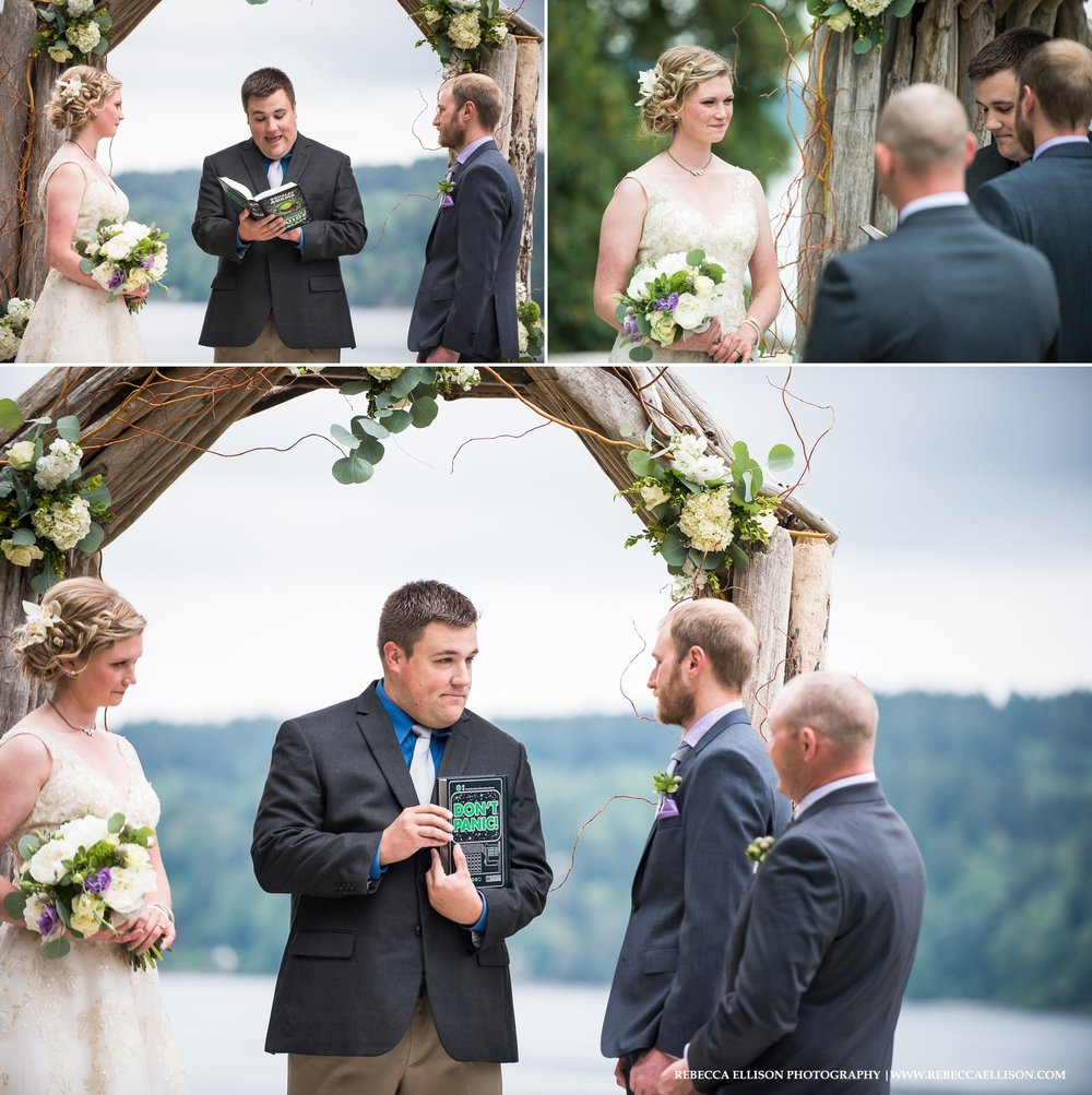 Outdoor spring wedding at the Edgewater House in Ollala, Washington. The Edgewater House makes for an intimate beach house wedding venue.