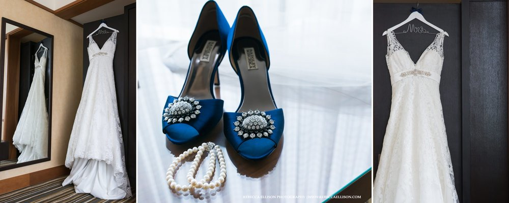 blue wedding shoes and veil