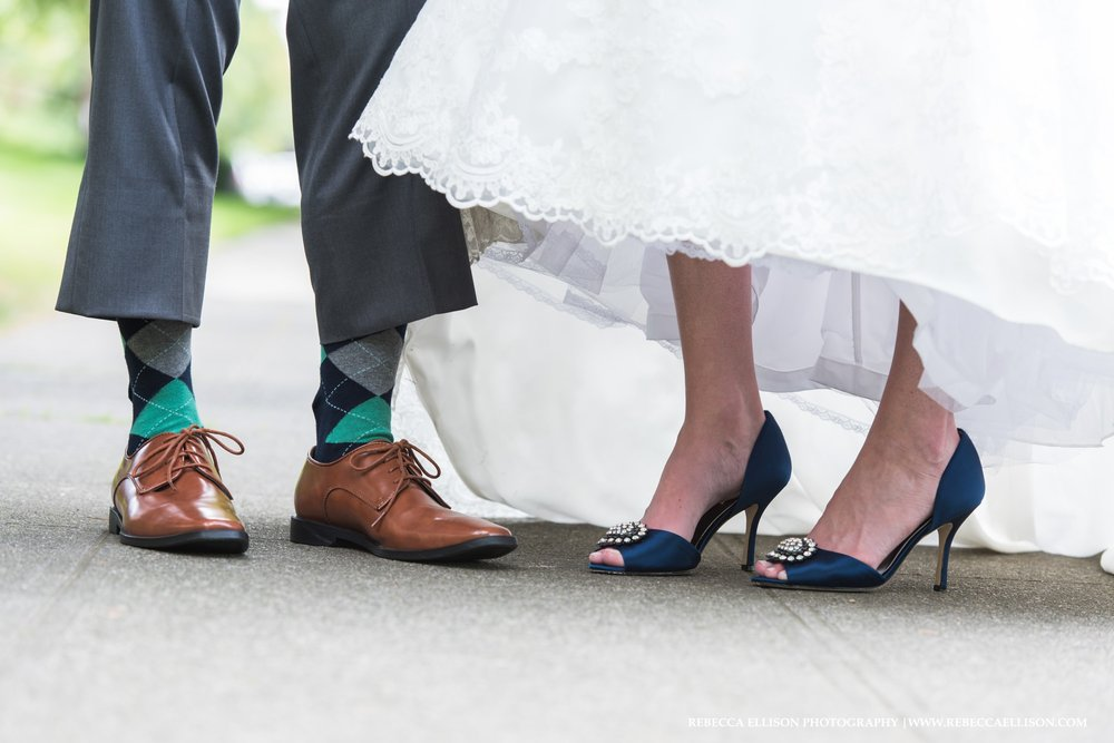 Brown loafers and blue wedding shoes