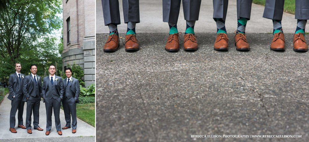 groomsmen plaid socks and brown loafers