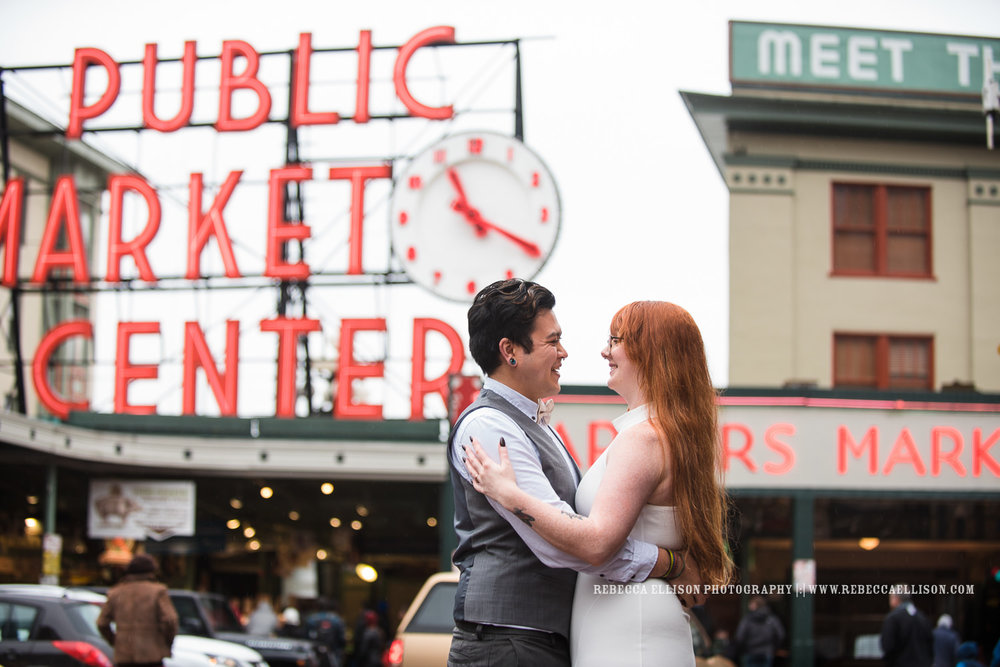 Destination engagement session in Seattle at Pike Place Market, the gum wall and the downtown area.
