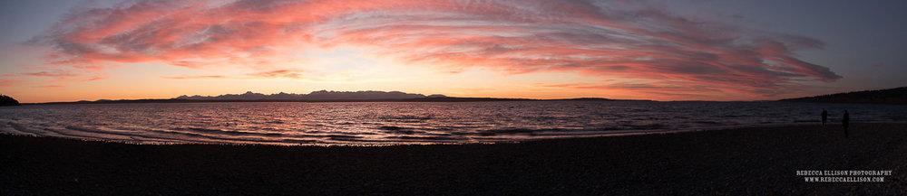 sunset maternity photos on the beach of carkeek park