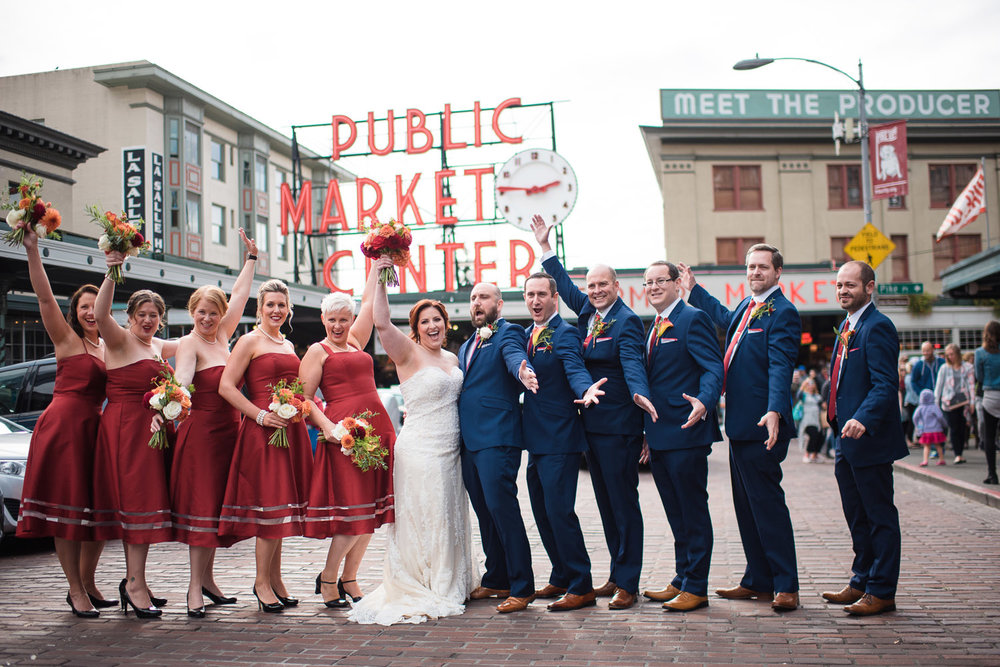 Mike and Vicki's fall Jewish wedding at Axis in Pioneer Square wit ha bourbon bar and the hora!
