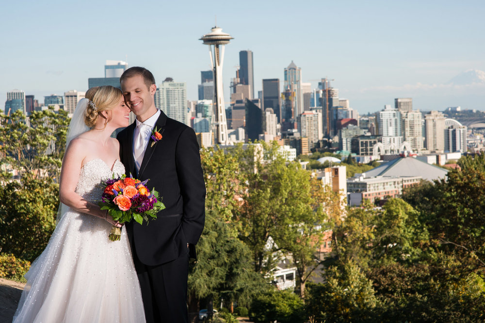 Late Summer Lake Union Cafe Seattle Wedding . Wedding colors black and coral