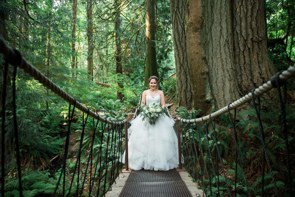 bride portraits at Unique PNW wedding venue - Treehouse Point