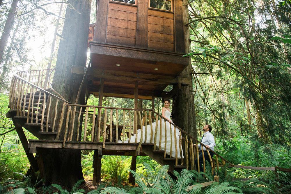 bride and groom portrait Unique PNW wedding venue - Treehouse Point