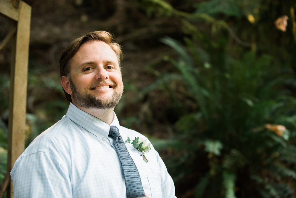 groom waiting for ceremony to start Unique PNW wedding venue - Treehouse Point