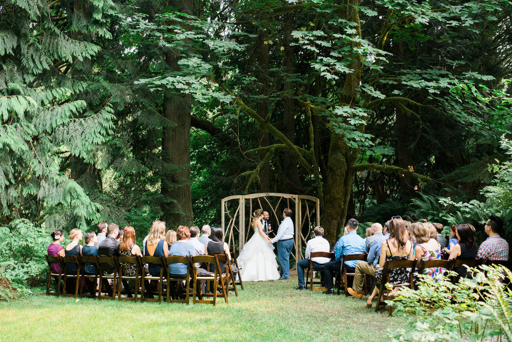 outdoor wedding ceremony at Unique PNW wedding venue - Treehouse Point