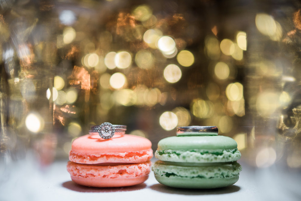 wedding ring detail photo on macroons