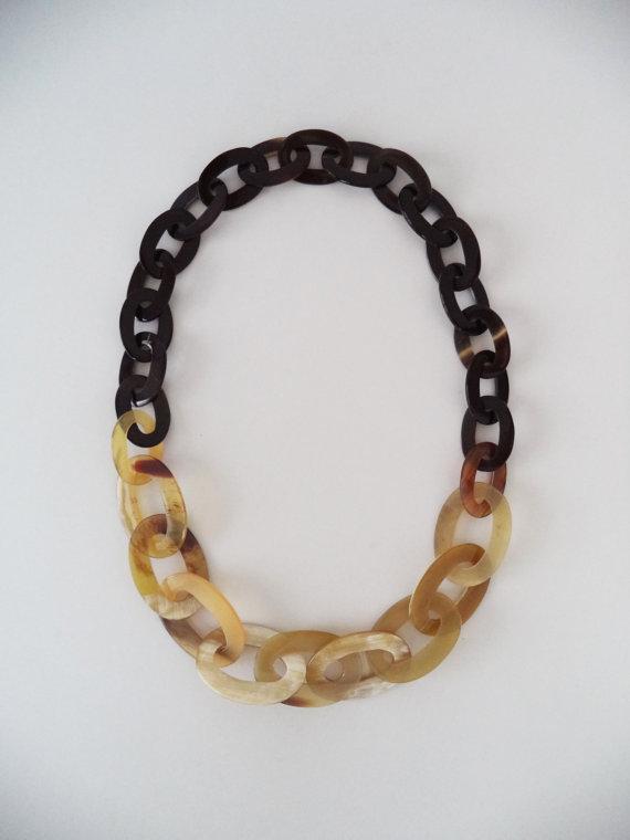 Angelina Buffalo Horn Long Chain Necklace
