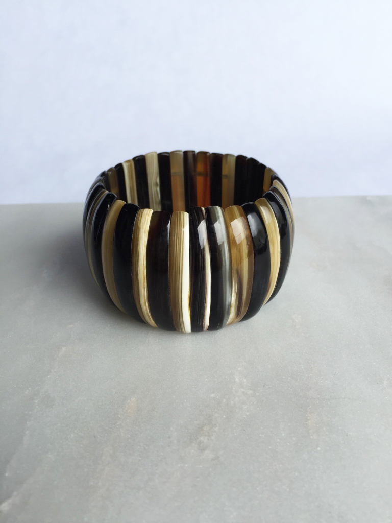 Quy Black & Brown Bone Black Horn Bracelet