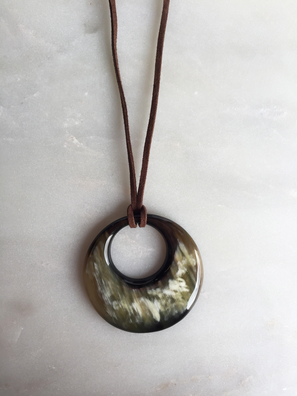Chau Dark Buffalo Horn Pendant Necklace