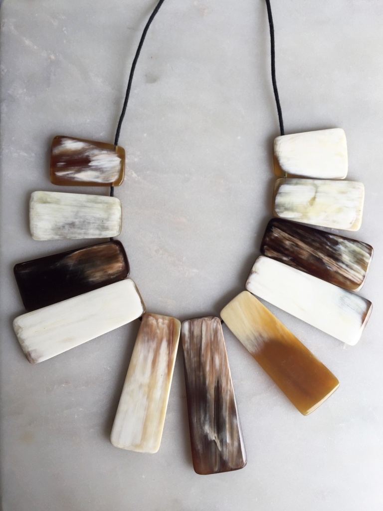 Thu Buffalo Horn Bib Necklace