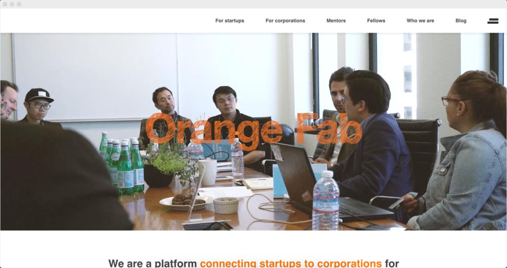 New Orange Fab landing page