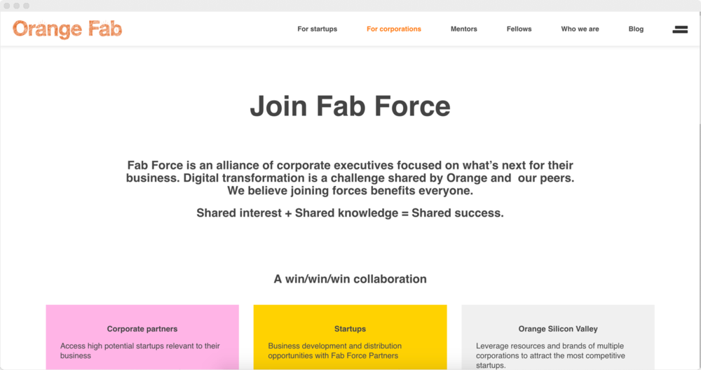 OrangeFab.com page for corproations