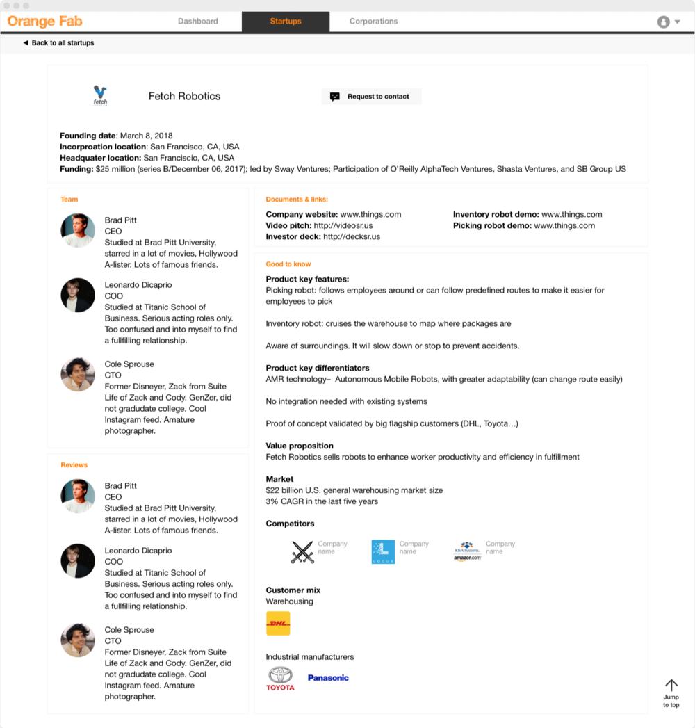Individual startup profile