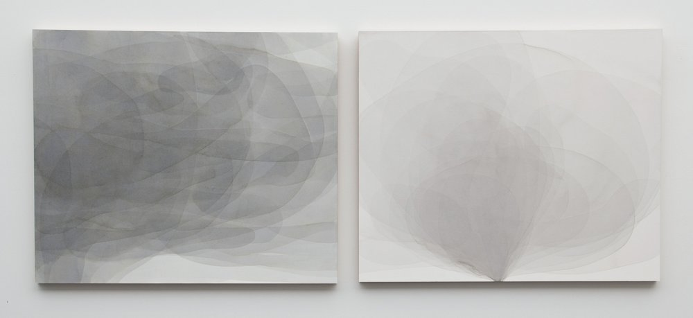 Abbey Ryan,  5493  |  5445 (murmuration),  2013, ink and Sumi ink on paper mounted on maple panel.